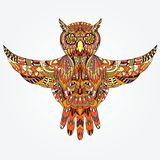 Ornamental hand-drawn owl Stock Photography