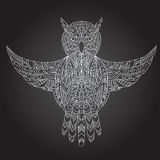 Ornamental hand-drawn owl Royalty Free Stock Images