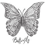 Ornamental hand drawn sketch of Butterfly in zentangle style. vector illustration with ornament, isolated Stock Images
