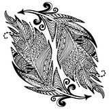 Ornamental hand drawn sketch of feathers in zentangle style. vector illustration with ornament, isolated Royalty Free Stock Photography