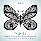 Ornamental hand drawn vintage vector butterfly Stock Images