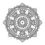 Ornamental hand drawn zentangle inspired mandala, line art, black white  Stock Images