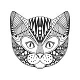 Ornamental head of cat, trendy ethnic zentangle design, hand drawn,  Stock Image