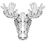 Ornamental head of elk layered vector illustration Royalty Free Stock Images