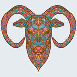 Ornamental head of goat or sheep - a symbol of new new year 2015. Multicolored concept. Vector illustration Stock Images