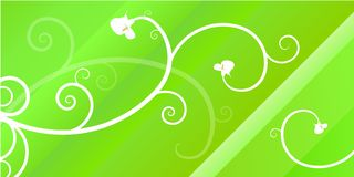 Ornamental Header. Green header with abstract ornamental flowers, spring feel Stock Image
