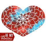Ornamental Heart above colorful watercolor spot. Vintage ornate Royalty Free Stock Photography