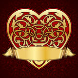 Ornamental heart with gold ribbon Royalty Free Stock Photo
