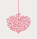 Ornamental heart in hand drawn style for Valentine Day, isolated Royalty Free Stock Photos