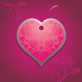 Ornamental heart on the purple background. Illustration Royalty Free Stock Photos