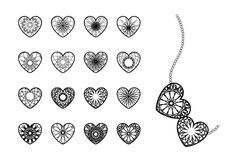 Ornamental Heart Symbols Royalty Free Stock Images