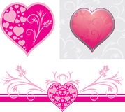Ornamental hearts for design to the Valentines day. Illustration Stock Photography