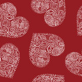 Ornamental hearts seamless pattern Royalty Free Stock Photo