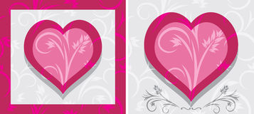 Ornamental hearts. Two icons Stock Photos