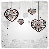 Ornamental hearts on the vintage background Royalty Free Stock Images