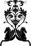 Ornamental horse. Illustration of ornamental composition with horse Pegasus. Stencil for decor stock illustration