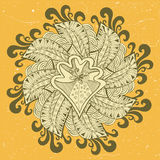 Ornamental illustration with floral doodle and threadbare grunge background. Royalty Free Stock Photo