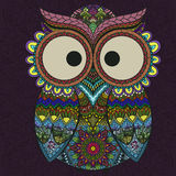 Ornamental indian owl on the patterned background. Royalty Free Stock Photo