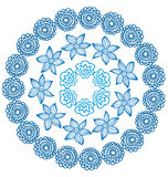 Ornamental indian round frame with flowers Royalty Free Stock Image