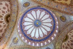 Ornamental interior of the Blue Mosque Royalty Free Stock Image