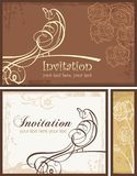 Ornamental Invitation Designs Set with Bird. Vector ornamental invitation designs with a calligraphic bird Stock Photo
