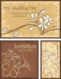 Ornamental Invitation Designs Set with Flowers. A set of wedding invitation designs with flowers Stock Photo