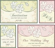 Ornamental Invitation Designs Set with Flowers Stock Photo