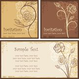 Ornamental Invitation Designs Set with Roses Royalty Free Stock Photos