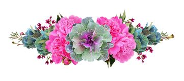 Free Ornamental Kales And Pink Peony Flowers In A Floral Line Arrangement Royalty Free Stock Photography - 137596757
