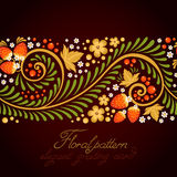 Ornamental khokhloma floral postcard Royalty Free Stock Images