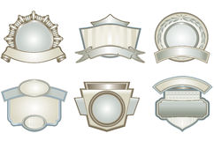 Ornamental label shapes. Set of vector shield labels Royalty Free Stock Photo