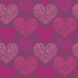 Ornamental lace hearts seamless pattern Royalty Free Stock Photography