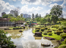 Ornamental lake in garden setting. Small ornamental lake in Chinese and Japanese Gardens, Singapore Stock Photos