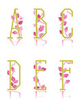 Ornamental letters A, B, C, D, E, F Royalty Free Stock Photos