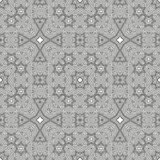 Ornamental linear pattern. Detailed vector illustration. Seamless black and white texture. Mandala design element. Royalty Free Stock Image