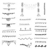 Ornamental lines and stripes doodle of free hand drawing sketch vector Stock Photo