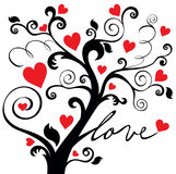Ornamental love tree. Black ornamental love tree with hearts Royalty Free Stock Images