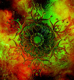 Ornamental mandala on abstract structured background with graphic effect. Stock Image