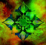 Ornamental mandala on abstract structured background with graphic effect. Stock Photos