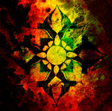 Ornamental mandala on abstract structured background with graphic effect. Stock Photo