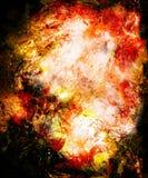 Ornamental mandala in cosmic space, Fire effect. Ornamental mandala in cosmic space, Fire effect Royalty Free Stock Image