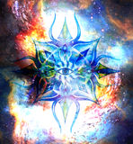 Ornamental mandala in cosmic space, Third Eye Chakra. Royalty Free Stock Photography