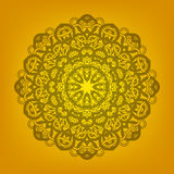 Ornamental mandala. On golden background Royalty Free Stock Images