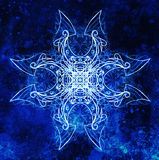 Ornamental mandala. Original hand draw and computer collage. Blue color structure. Winter effect. Royalty Free Stock Photography