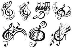 Ornamental music notes. Black and white decorative set of music notes Stock Photo
