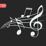 Ornamental music notes with swirls on black background vector illustration