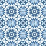 Ornamental Oriental Blue Floral Beautiful Royal Vintage Spring Abstract Seamless Pattern Texture Wallpaper Stock Image