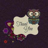 Ornamental owl on the patterned background. Stock Photos