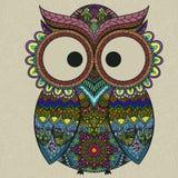 Ornamental owl on the patterned background. vector illustration