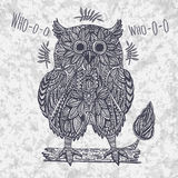 Ornamental owl in tribal style on the grunge background Stock Photo